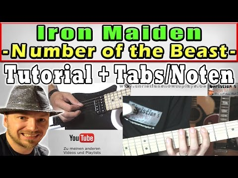 ★Iron Maiden NUMBER OF THE BEAST   E Guitar Lesson/Tutorial + TABS