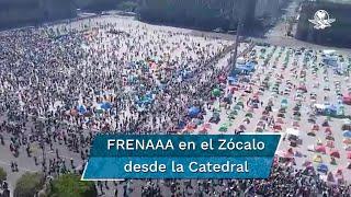 Así se ve la manifestación de FRENAAA desde la Catedral