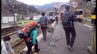 備後落合駅ジャンクション 3列車集結時の一瞬の賑わい