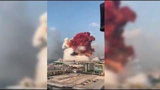 لحظة وقوع الانفجار الذي هزٍّ العاصمة اللبنانية بيروت