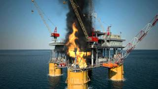 3D Animation - Simulation of an oil rig on fire