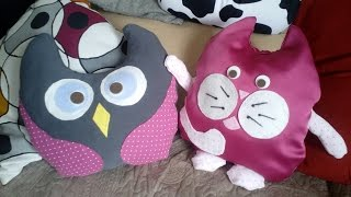 подушка-игрушка (без шитья) легко и просто своими руками//   how to make this easy owl pillow