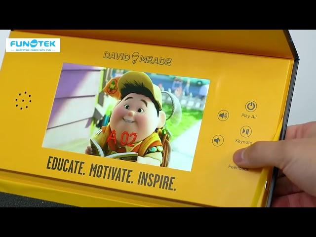 Custom Print Video Display Box with Light Sensor Play Buttons for Presentations