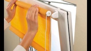Как установить рулонную штору на окно без сверления