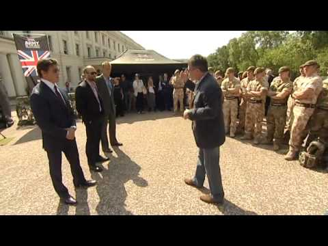 Sylvester Stallone meets British troops