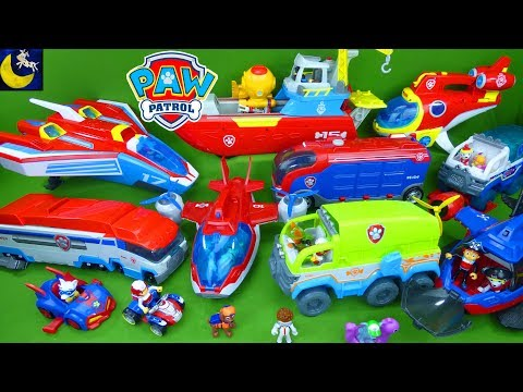Complete Paw Patrol Toys Collection Vehicles Sub Sea Pirate Ship Jungle Paw Patroller Mighty Twins