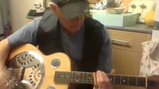 Slide guitar blues in open G tuning with home made coper pipe slide,