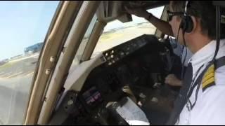Saudia B777-300ER landing at JFK runway 31R cockpit view