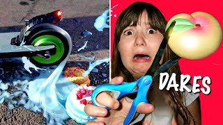 ALL EXTREME SLIME DARES & SQUISHY DARES! ~Slime VS Electric Scooter!