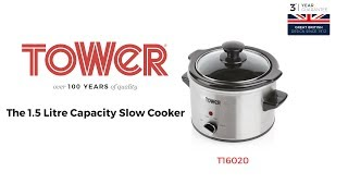 Tower Stainless Steel, 1.5 Litre Capacity Slow Cooker