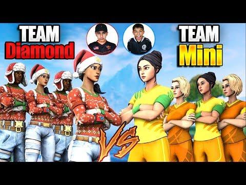 Team Diamond VS Team Mini Pro Fortnite Tournament 3! Insane Clan Battle Against Little Brother!