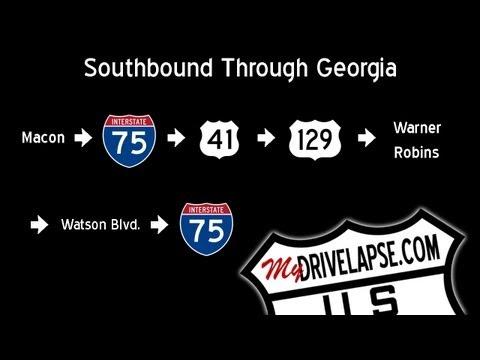 Macon to Warner Robins, Georgia Time Lapse Dashcam Drive