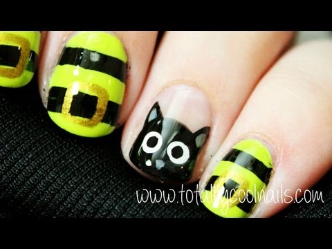 Halloween Series Black Cat And Witch Inspired Nail Art Youtube