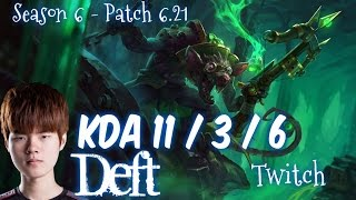 Deft TWITCH vs JHIN ADC - Patch 6.21 KR Ranked