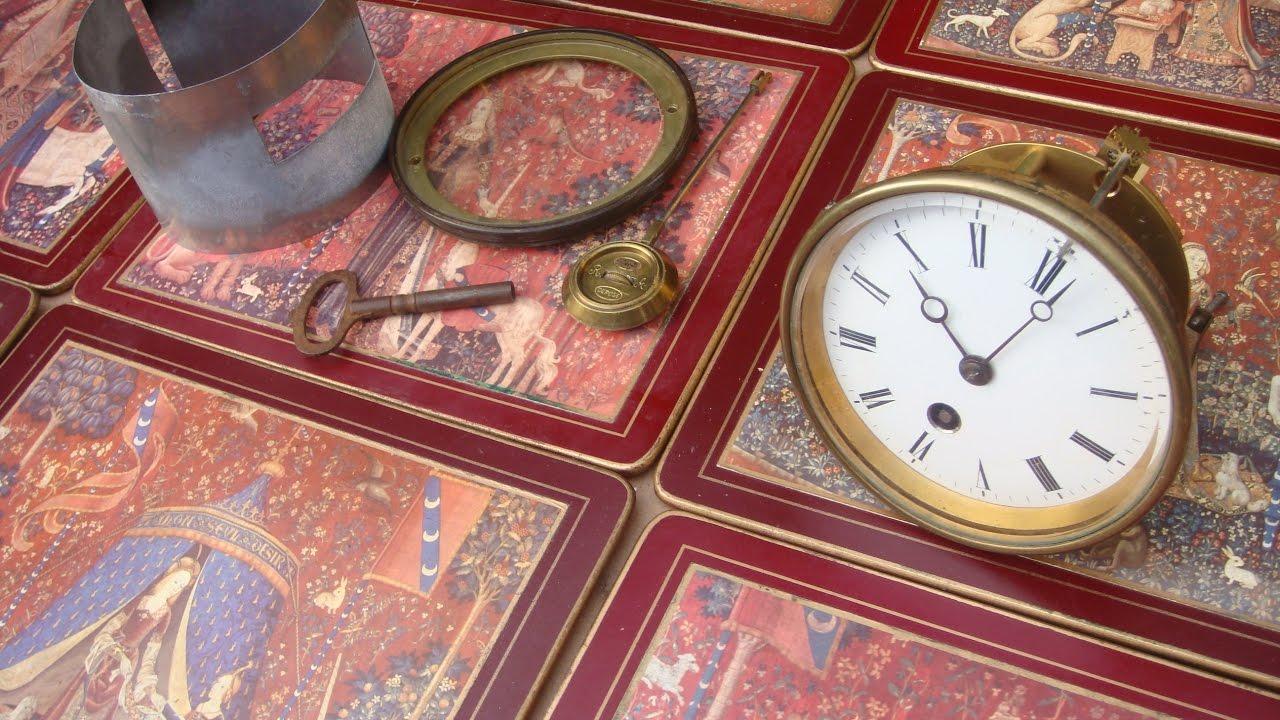 Clock Parts Vintage Old Antique Clock Movement & Pendulum , Key See Video