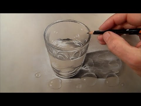 How to Draw Glass of Water, Time Lapse - YouTube