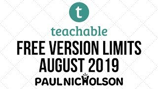 Teachable Free Version Now Limits Enrolments - Plan Changes August 2019.