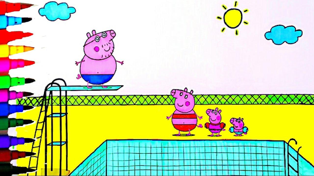 Peppa Pig Best Coloring Book Pages Kids Fun Art Activities Peppa Pig Swimming Pool Kids Videos