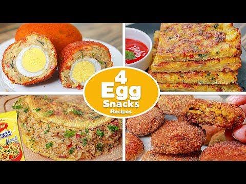 4 Easy Egg Snacks Recipes | Egg Chop | Potato Omelette | Potato Egg Kebab | Maggi Omelette | Toasted