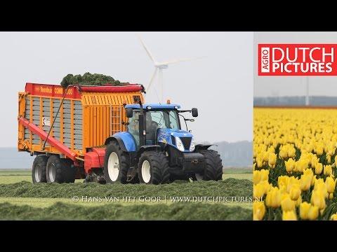 First Grass Silage 2017 | New Holland T7030, T6030 + TS100 | Eerste snede | Gras oprapen en harken