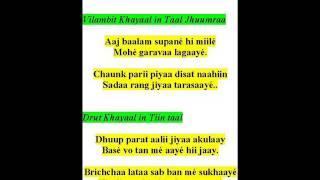 ramkrishna das sings khayaals- raag bad hans saarang-aaj baalam supane hii miile , dhuup parat aali