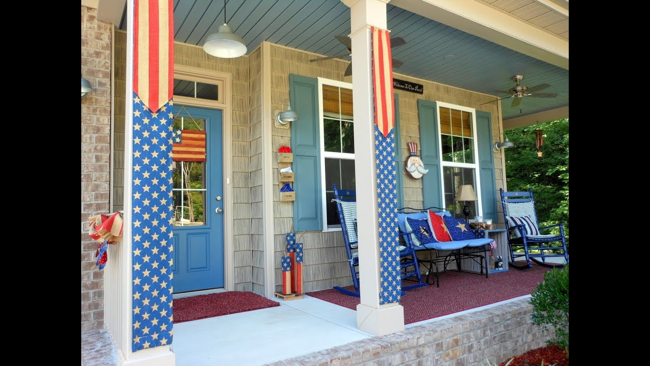 Patriotic Porch Decorating With Burlap Youtube