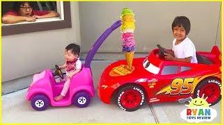 Download Ryan's Drive Thru Pretend Play Restaurant on Kids Power Wheels!!! Mp3 and Videos