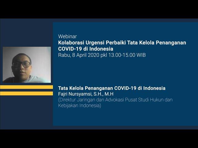 Tata Kelola Penanganan COVID 19 di Indonesia