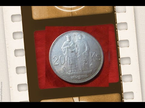silver coin 20 ks  koruna 1941 - 1944 Slovenska Republika Словацкая крона 20 крон Кирилл и Мефодий