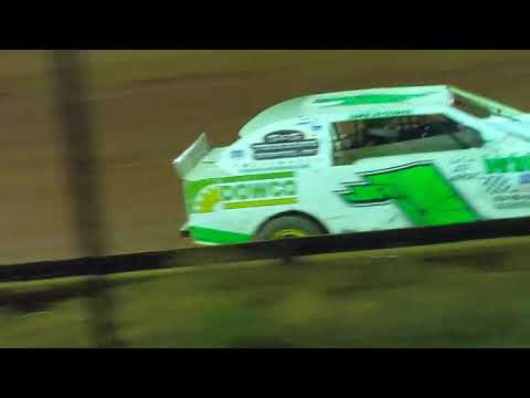 JR1, (white car with green lettering), 13 year old dirt track driver from NC. - dirt track racing video image