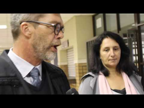 Vicki Momberg stands with her attorney Nardus Grove at Randburg Magistrates' Court
