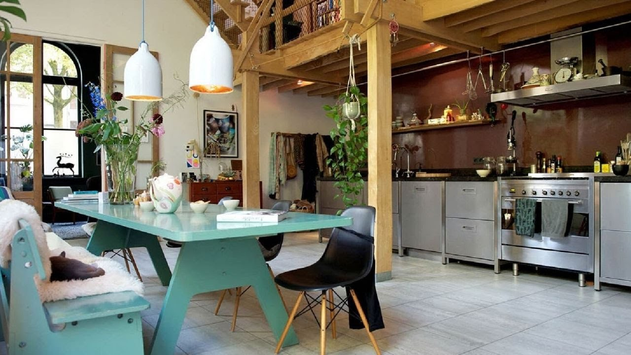 match of industrial & eclectic in Amsterdam's loft ▸ interior design