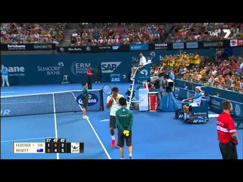 LLeyton Hewitt defeats Roger Federer to win the Brisbane International 5th January 2014