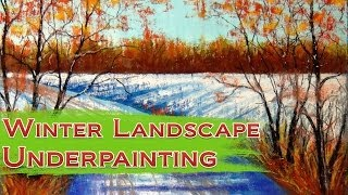 How to draw Winter Landscape with Soft Pastel - Part 1 - Underpainting