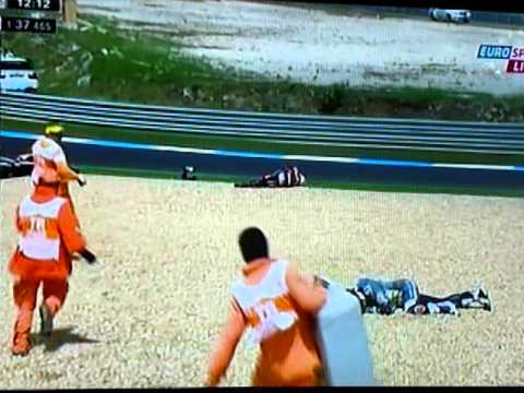 Qualification Estoril motoGP 2012 - Ivan Silva + crash Randy et Colin