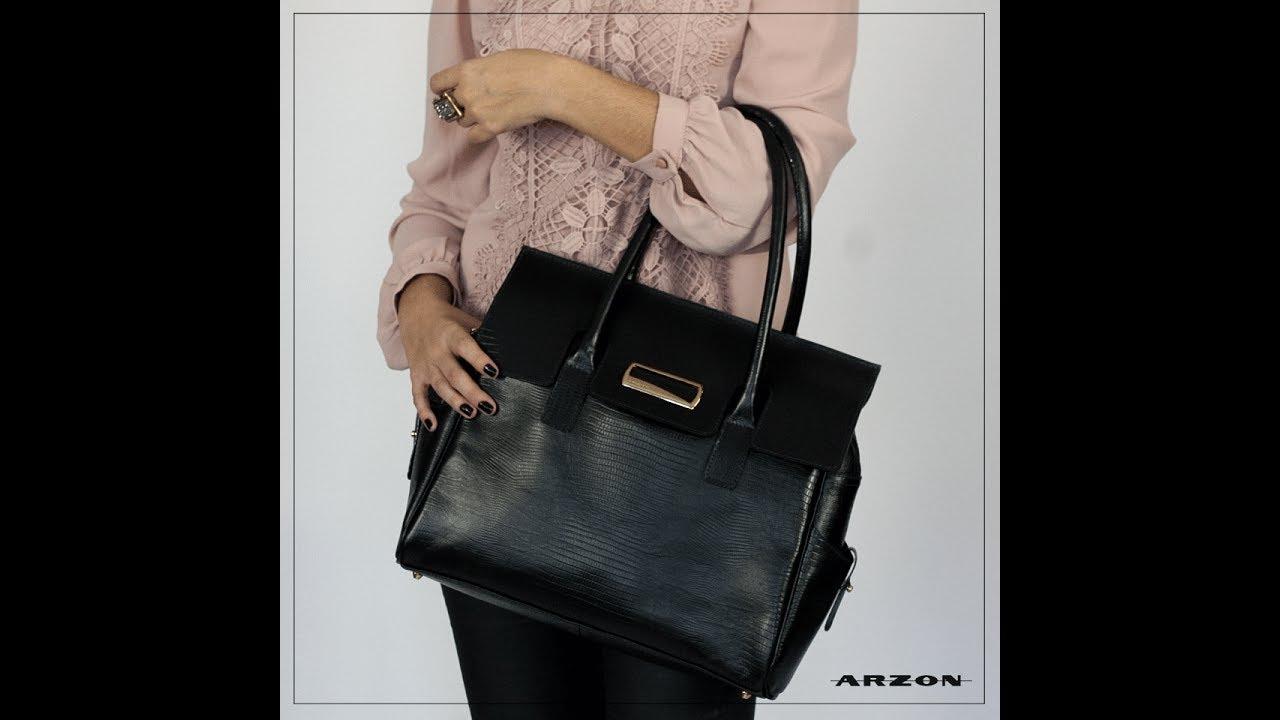 a86774c8144b0 Bolsa Feminina de Couro Preta Envelope ARZON - YouTube