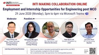 INTI CAREER FAIR WEBINAR 4 - EMPLOYMENT & INTERNSHIP OPPORTUNITIES for ENGINEERING POST MCO
