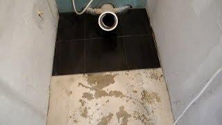 Укладка плитки на пол в туалете ч.1