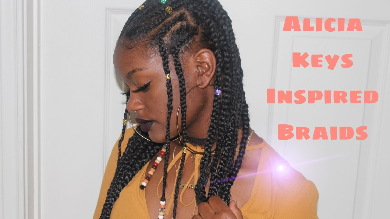 howto alicia keys inspired/ fulani braids & beeds (feed in braids