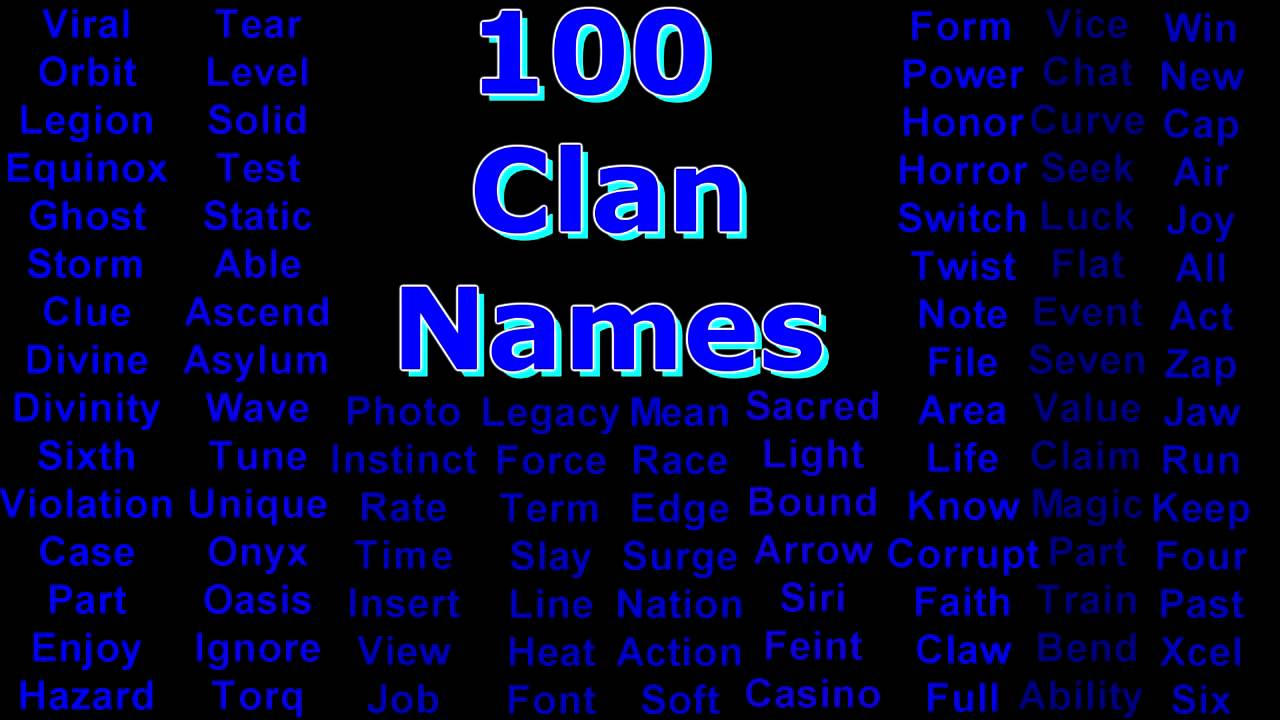 Over 100 Unused Clan Names