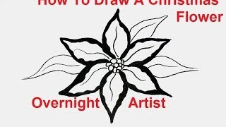 How to draw flowers -  draw a christmas flower