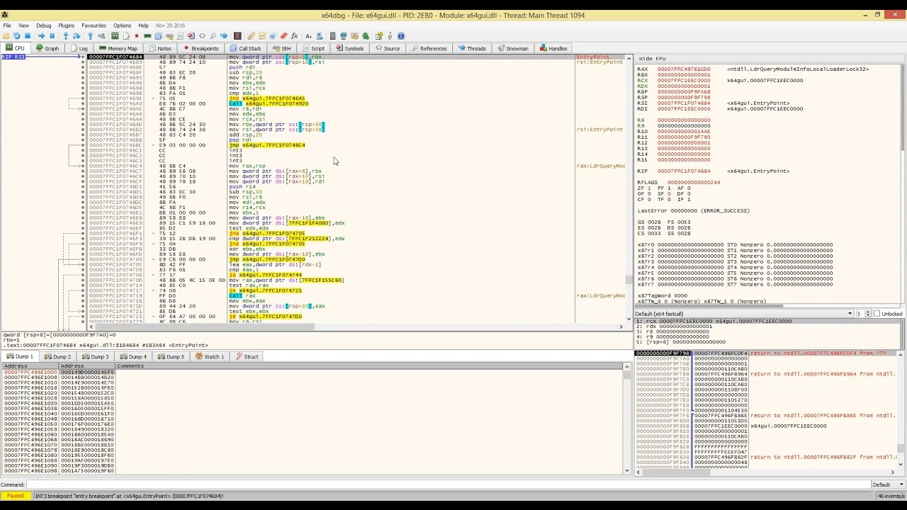 Debugging a crash in x64dbg with x64dbg