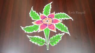 Friday Special Kolam Designs   Flower Rangoli with 5x3 Dots   Creative Muggulu