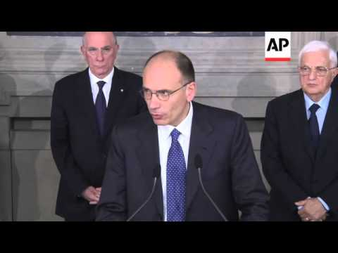 Enrico Letta, from Italy's Democratic Party, set to become Prime Minister