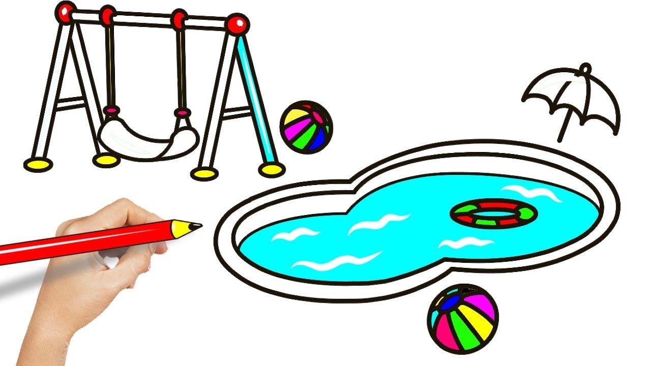 How to Draw a Swimming Pool for Kids - Swimming Pool Drawing and Coloring  Pages for Kids