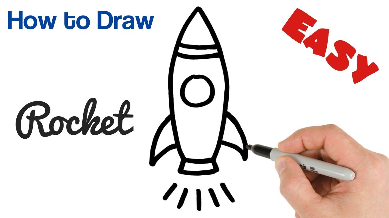 How To Draw A Rocket Cartoon Drawings For Kids Step By