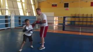 Работа на лапах Тренировка по боксу
