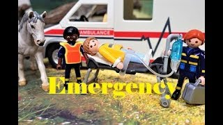 Playmobil Toys Rescue Ambulance Riding Accident in the Woods