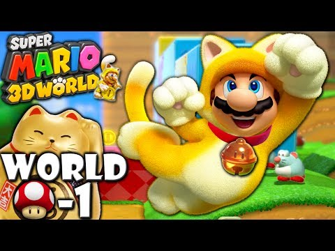 Super Mario 3D World: 2P Co-Op! Lucky Bell Cat MUSHROOM-1 (Nintendo Wii U HD Gameplay Walkthrough)