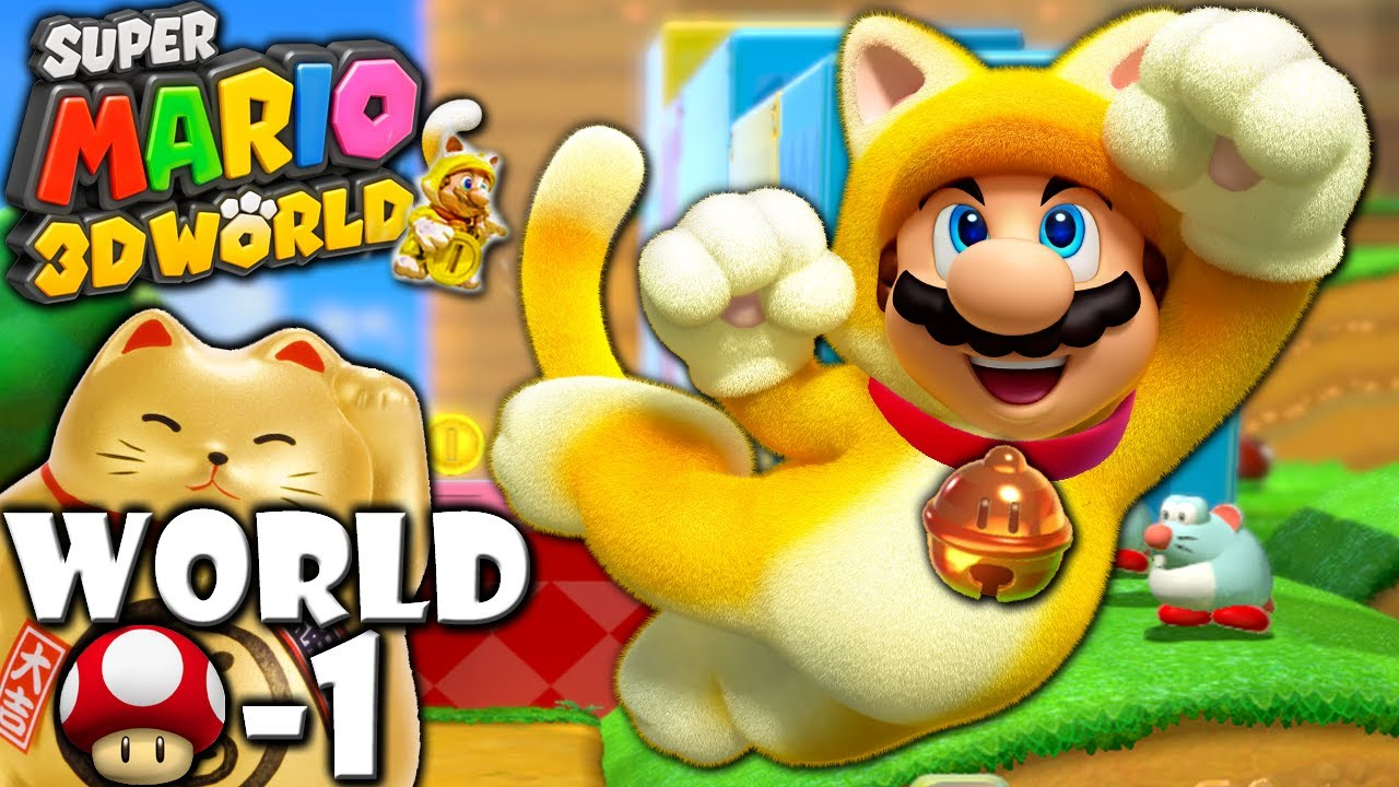 Super Mario 3D World 2P Co Op Lucky Bell Cat MUSHROOM 1 Nintendo Wii U HD Gameplay Walkthrough